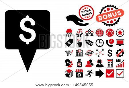 Dollar Map Pointer pictograph with bonus clip art. Glyph illustration style is flat iconic bicolor symbols, intensive red and black colors, white background.
