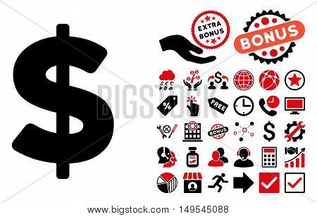 Dollar icon with bonus pictures. Glyph illustration style is flat iconic bicolor symbols, intensive red and black colors, white background.