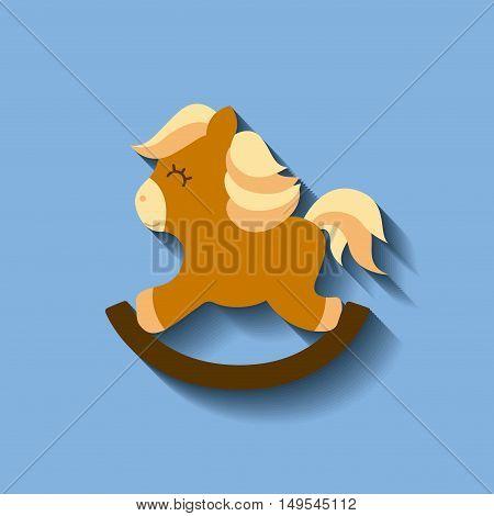 tender cute horse wooden card icon vector illustration design