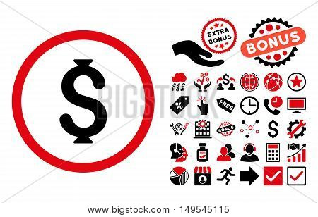 Dollar icon with bonus design elements. Glyph illustration style is flat iconic bicolor symbols, intensive red and black colors, white background.