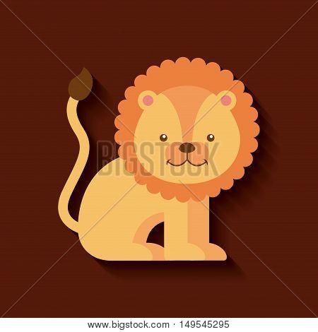 tender cute lion card icon vector illustration design