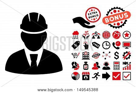 Engineer icon with bonus design elements. Glyph illustration style is flat iconic bicolor symbols, intensive red and black colors, white background.