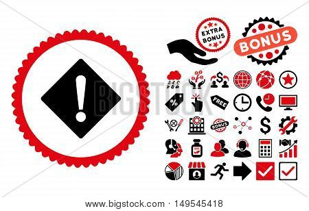 Error pictograph with bonus pictogram. Glyph illustration style is flat iconic bicolor symbols, intensive red and black colors, white background.