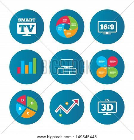 Business pie chart. Growth curve. Presentation buttons. Smart TV mode icon. Aspect ratio 16:9 widescreen symbol. 3D Television and TV table signs. Data analysis. Vector