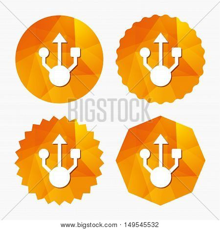 Usb sign icon. Usb flash drive symbol. Triangular low poly buttons with flat icon. Vector