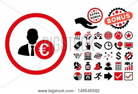 Euro Banker icon with bonus symbols. Glyph illustration style is flat iconic bicolor symbols, intensive red and black colors, white background.