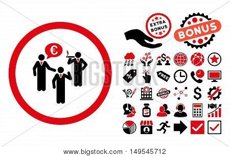 Euro Discuss Persons pictograph with bonus icon set. Glyph illustration style is flat iconic bicolor symbols, intensive red and black colors, white background.