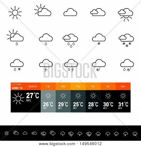 Weather Forecast Icon Set Illustration In Colorful
