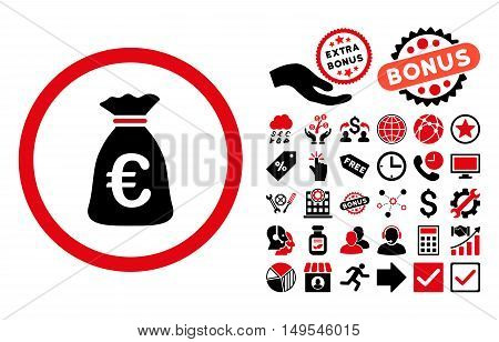Euro Money Bag icon with bonus pictograph collection. Glyph illustration style is flat iconic bicolor symbols, intensive red and black colors, white background.