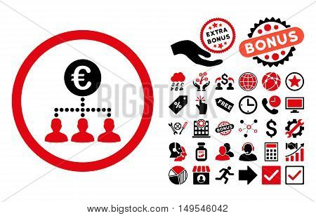 Euro Payment Clients icon with bonus pictogram. Glyph illustration style is flat iconic bicolor symbols, intensive red and black colors, white background.