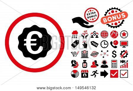 Euro Reward Seal icon with bonus images. Glyph illustration style is flat iconic bicolor symbols, intensive red and black colors, white background.