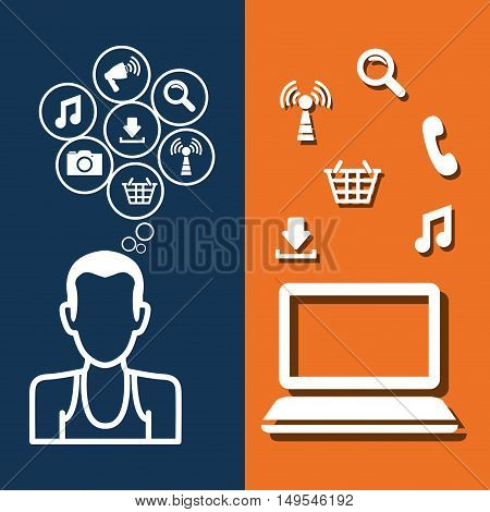 Social network person computer icon cloud global world