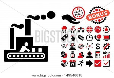 Fabric Building icon with bonus pictograph collection. Glyph illustration style is flat iconic bicolor symbols, intensive red and black colors, white background.