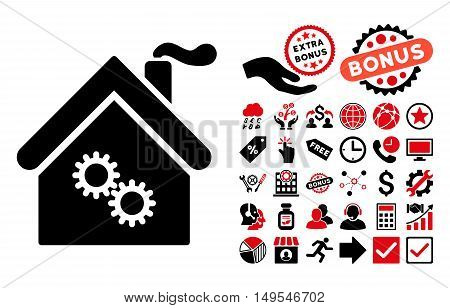 Factory Building pictograph with bonus pictogram. Glyph illustration style is flat iconic bicolor symbols, intensive red and black colors, white background.