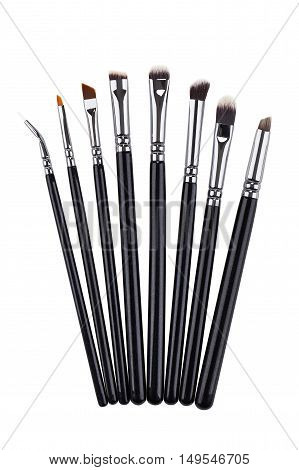 Brow makeup brushes set. Isolated. White background.