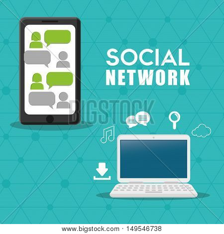 Social network cellphone computer message icon cloud