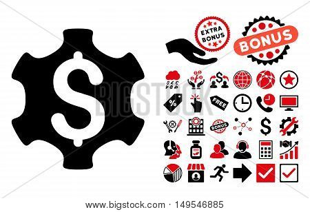 Financial Settings icon with bonus pictogram. Glyph illustration style is flat iconic bicolor symbols, intensive red and black colors, white background.