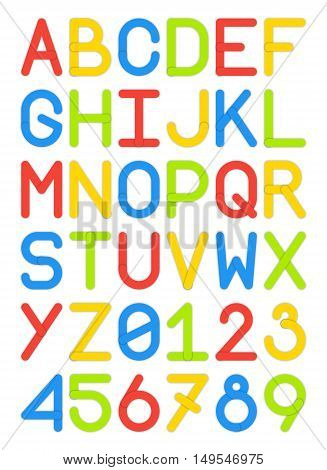 english font typeface capital letters and numbers modern style sans serif colorful red yellow blue green vector illustration