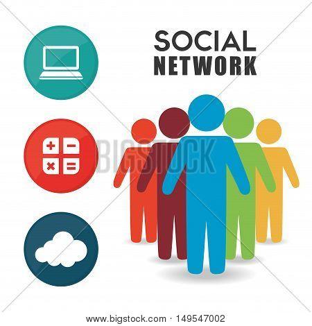 Social network person color information cloud icon