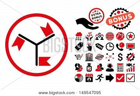 Flags pictograph with bonus elements. Glyph illustration style is flat iconic bicolor symbols, intensive red and black colors, white background.