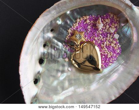 Abalone shell along with the star-shaped sand and Heart-shaped ornament on dark background