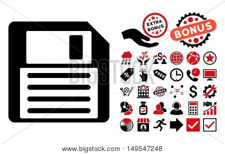Floppy icon with bonus images. Glyph illustration style is flat iconic bicolor symbols, intensive red and black colors, white background.