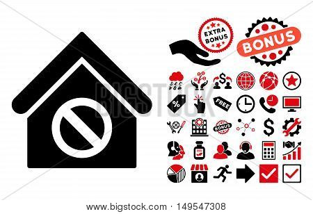 Forbidden Building icon with bonus design elements. Glyph illustration style is flat iconic bicolor symbols, intensive red and black colors, white background.