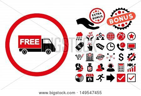 Free Shipment pictograph with bonus images. Glyph illustration style is flat iconic bicolor symbols, intensive red and black colors, white background.