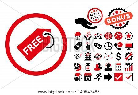 Free Tag icon with bonus images. Glyph illustration style is flat iconic bicolor symbols, intensive red and black colors, white background.