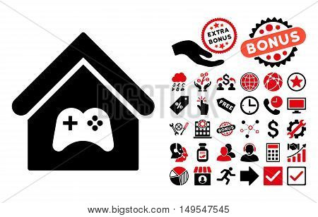 Game Center Building icon with bonus images. Glyph illustration style is flat iconic bicolor symbols, intensive red and black colors, white background.