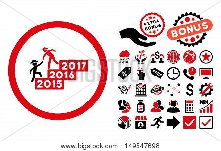 Gentleman Annual Help icon with bonus design elements. Glyph illustration style is flat iconic bicolor symbols, intensive red and black colors, white background.