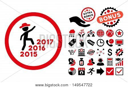 Gentleman Steps Years pictograph with bonus clip art. Glyph illustration style is flat iconic bicolor symbols, intensive red and black colors, white background.