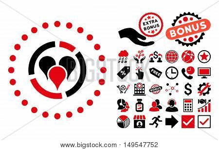 Geo Diagram pictograph with bonus pictures. Glyph illustration style is flat iconic bicolor symbols, intensive red and black colors, white background.
