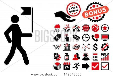Guide Man With Flag icon with bonus pictograph collection. Glyph illustration style is flat iconic bicolor symbols, intensive red and black colors, white background.