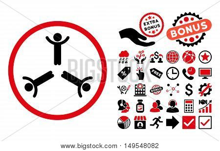 Hands Up Men pictograph with bonus symbols. Glyph illustration style is flat iconic bicolor symbols, intensive red and black colors, white background.