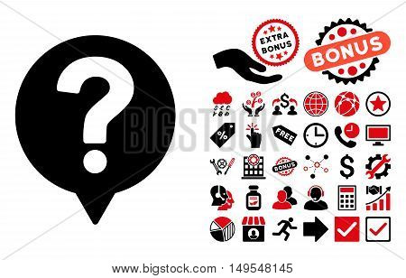 Help Balloon icon with bonus pictograph collection. Glyph illustration style is flat iconic bicolor symbols, intensive red and black colors, white background.