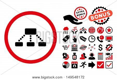 Hierarchy pictograph with bonus symbols. Glyph illustration style is flat iconic bicolor symbols, intensive red and black colors, white background.