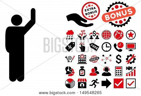 Hitchhike Pose pictograph with bonus symbols. Glyph illustration style is flat iconic bicolor symbols, intensive red and black colors, white background.