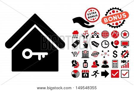 Home Key icon with bonus pictures. Glyph illustration style is flat iconic bicolor symbols, intensive red and black colors, white background.