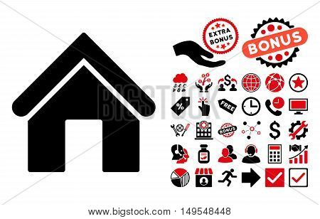 Home icon with bonus design elements. Glyph illustration style is flat iconic bicolor symbols, intensive red and black colors, white background.