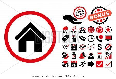 Home pictograph with bonus images. Glyph illustration style is flat iconic bicolor symbols, intensive red and black colors, white background.