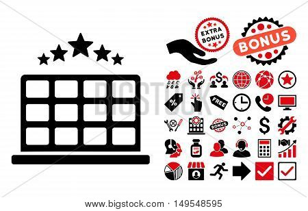 Hotel Stars pictograph with bonus symbols. Glyph illustration style is flat iconic bicolor symbols, intensive red and black colors, white background.