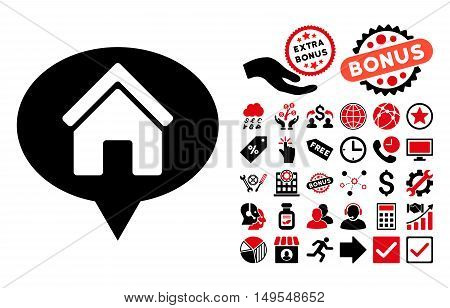 House Info Balloon pictograph with bonus design elements. Glyph illustration style is flat iconic bicolor symbols, intensive red and black colors, white background.