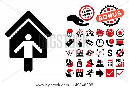 House Owner Wellcome pictograph with bonus clip art. Glyph illustration style is flat iconic bicolor symbols, intensive red and black colors, white background.