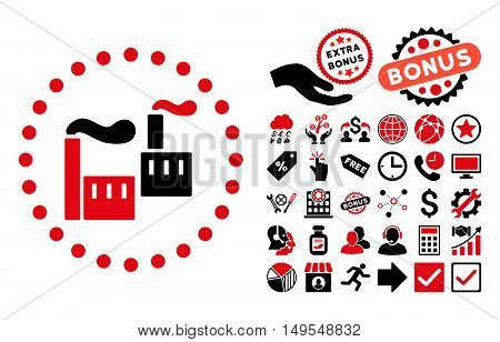 Industry pictograph with bonus elements. Glyph illustration style is flat iconic bicolor symbols, intensive red and black colors, white background.