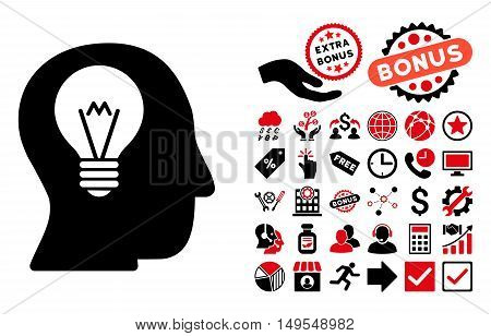 Intellect Bulb pictograph with bonus images. Glyph illustration style is flat iconic bicolor symbols, intensive red and black colors, white background.