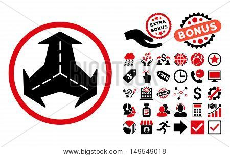 Intersection Directions pictograph with bonus design elements. Glyph illustration style is flat iconic bicolor symbols, intensive red and black colors, white background.