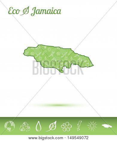 Jamaica Eco Map Filled With Green Pattern. Green Counrty Map With Ecology Concept Design Elements. V