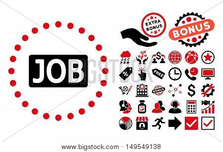 Job Text pictograph with bonus images. Glyph illustration style is flat iconic bicolor symbols, intensive red and black colors, white background.