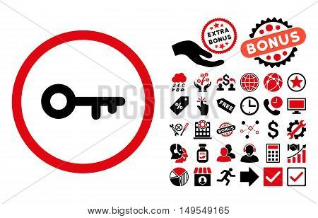 Key icon with bonus symbols. Glyph illustration style is flat iconic bicolor symbols, intensive red and black colors, white background.